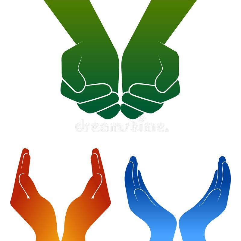 Apra il logo della siluetta delle mani su bianco royalty illustrazione gratis