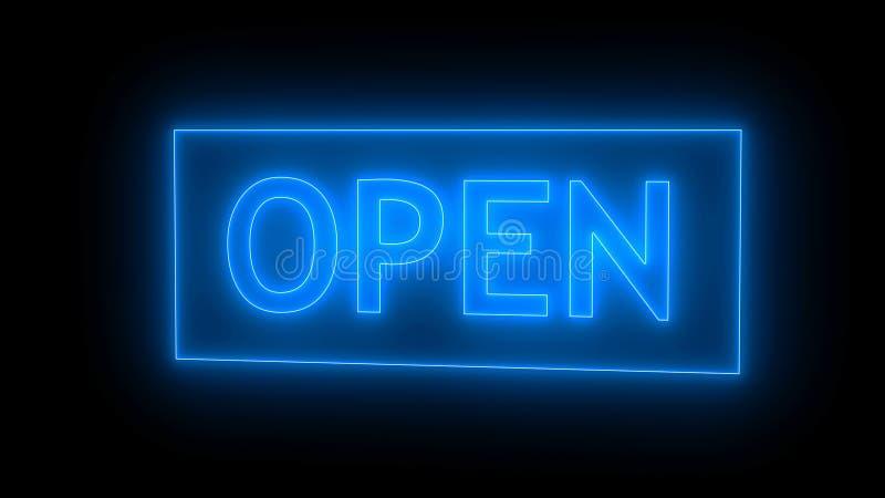 Apra il neon del segno isolato su fondo nero royalty illustrazione gratis