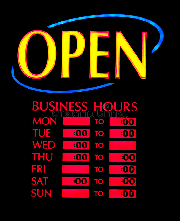 Apra il neon di affari fotografia stock