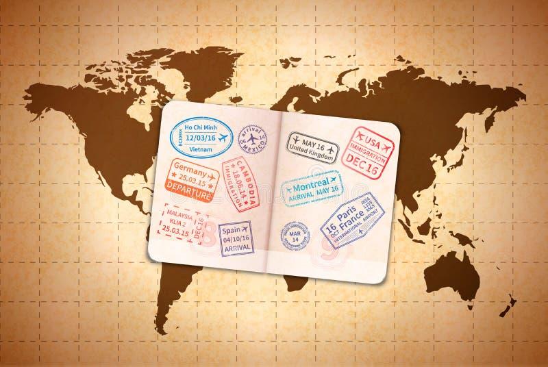 Apra il passaporto straniero con i timbri di visto internazionali sulla mappa di mondo antica su vecchia carta royalty illustrazione gratis