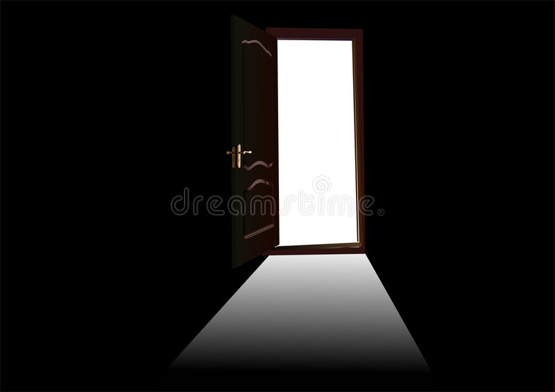 Apra il portello marrone sul nero illustrazione di stock
