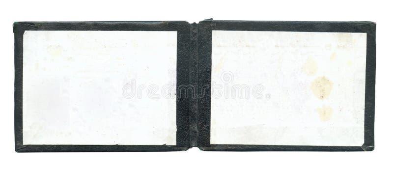 Apra il vecchio certificato vuoto fotografia stock