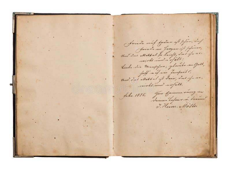 Apra il vecchio libro con testo tedesco antico fotografia stock libera da diritti