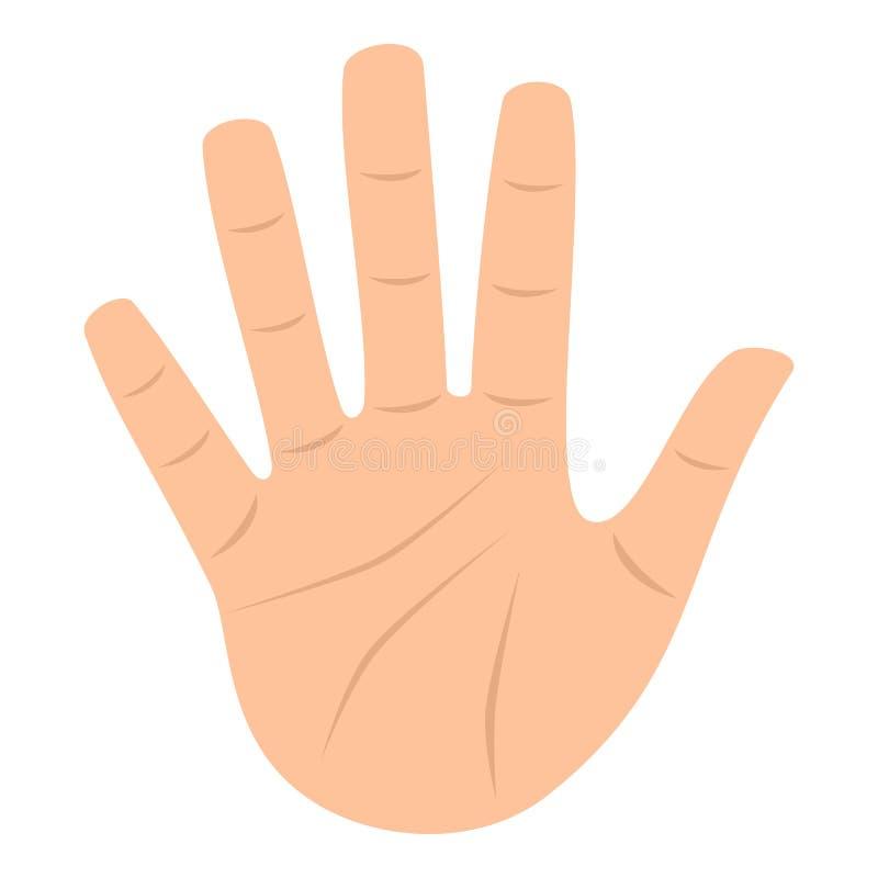 Apra l'icona piana della mano della palma isolata su bianco