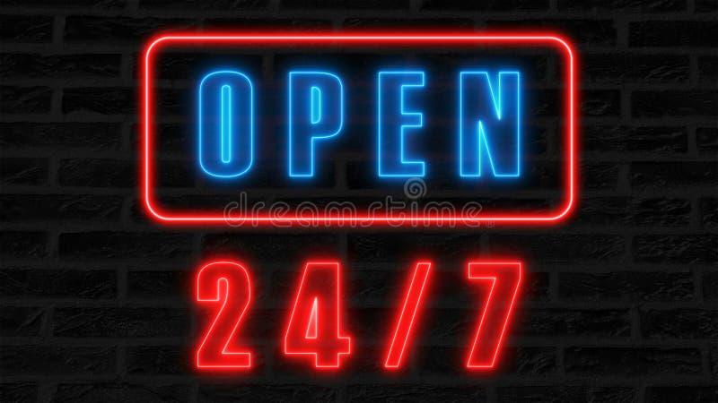 Apra 24-7 l'insegna al neon, retro insegna di stile per la barra o il club, 3d rende il fondo generato da computer illustrazione di stock