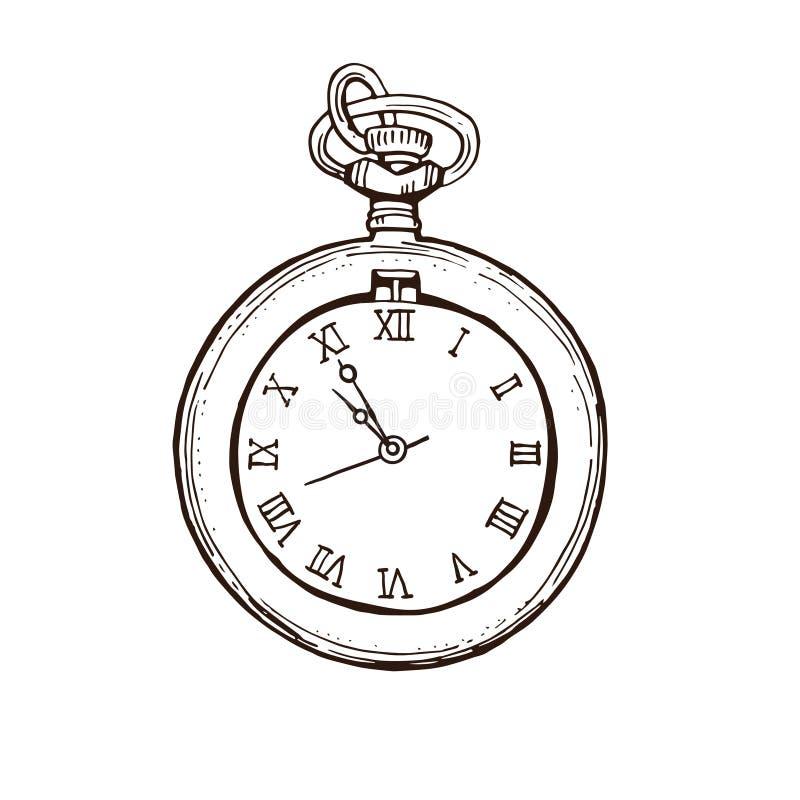 Apra l'orologio da tasca nello stile d'annata Illustrazione disegnata a mano di vettore di schizzo dell'inchiostro royalty illustrazione gratis