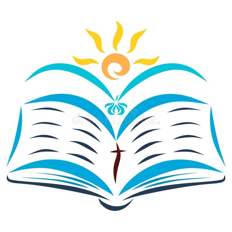 Apra la bibbia, l'uccello di volo ed il sole brillante illustrazione di stock