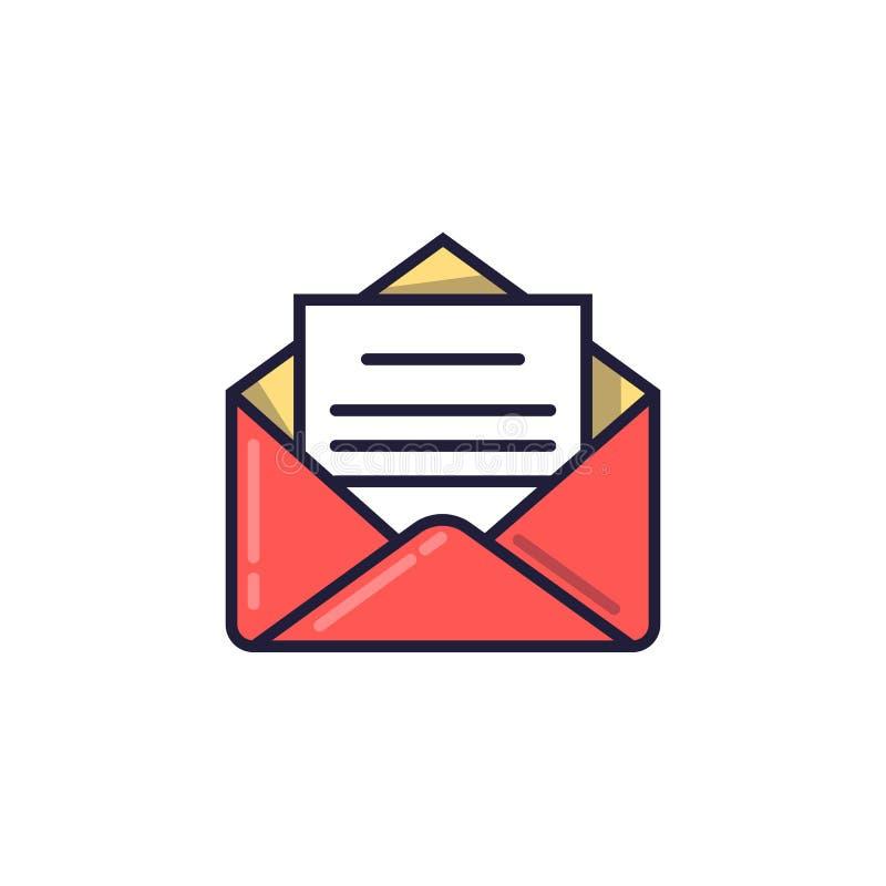 Apra la busta con il documento Icona del email Illustrazione di vettore in uno stile lineare illustrazione vettoriale