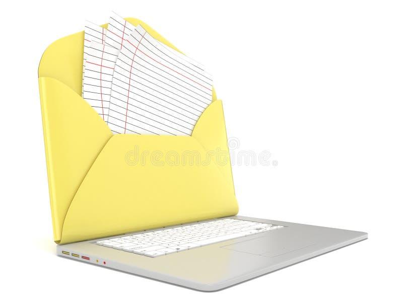Apra la busta e soppressione la carta allineata sul computer portatile Vista laterale 3d rendono illustrazione di stock