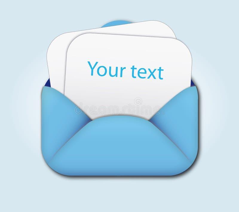 Apra la busta e soppressione la lettera illustrazione di stock