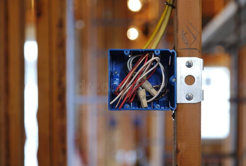 Apra la casella elettrica in una casa in costruzione fotografie stock