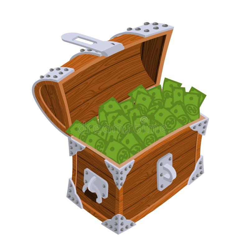 Apra la cassa con soldi Vecchio cofanetto con contanti Dollaro di ricchezza illustrazione di stock