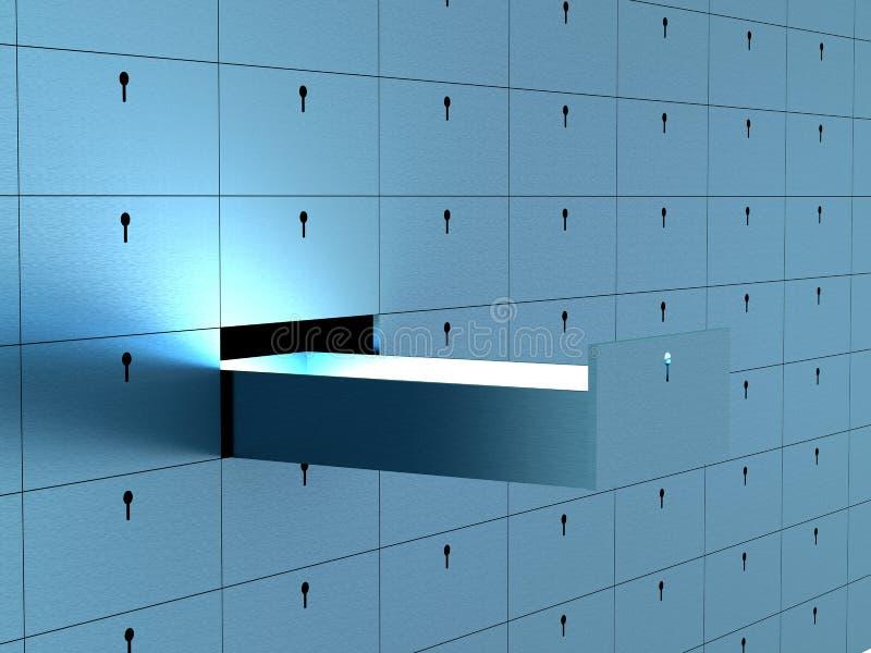 Apra la cella in casella di deposito di sicurezza. royalty illustrazione gratis