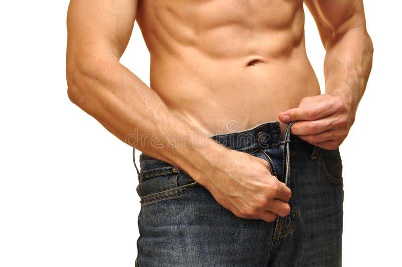 Apra La Chiusura Lampo Dei Jeans Immagine Stock Libera da Diritti