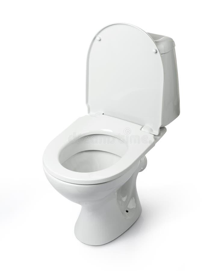 Apra la ciotola di toilette isolata su fondo bianco fotografie stock libere da diritti