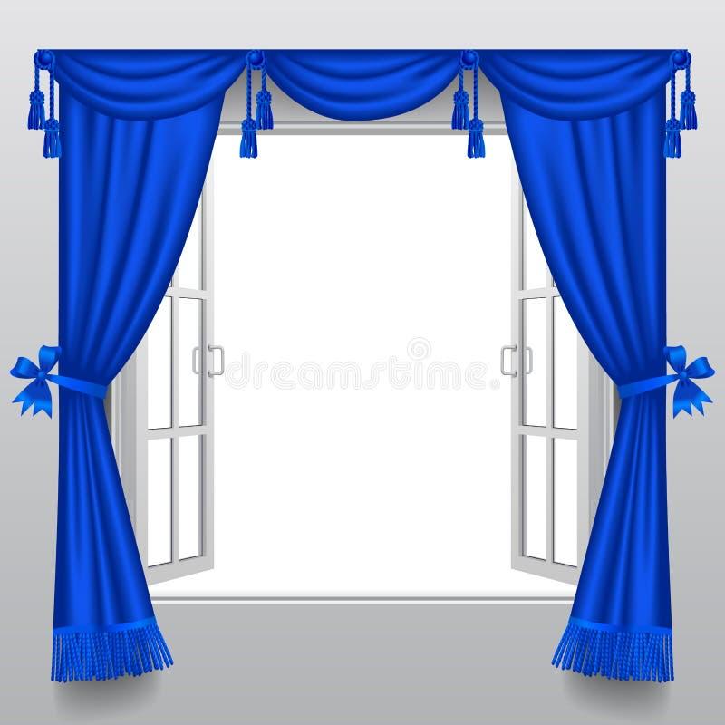 Apra la doppia finestra bianca con i ciechi blu classici illustrazione vettoriale