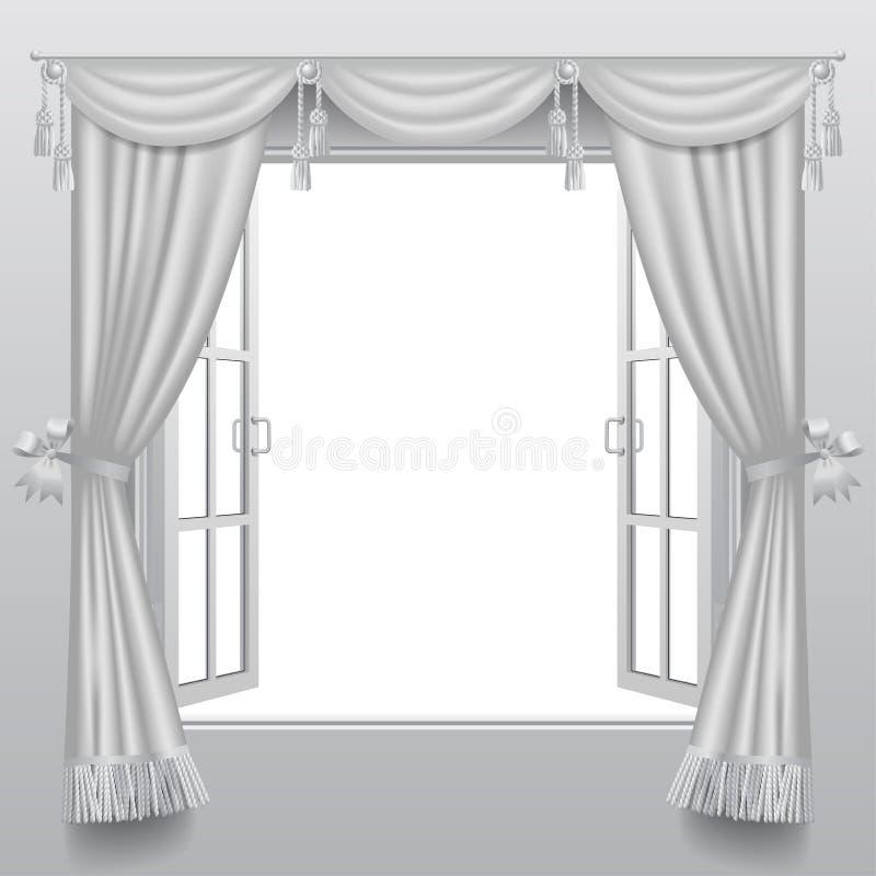 Apra la doppia finestra bianca con i ciechi classici e il gla trasparente royalty illustrazione gratis