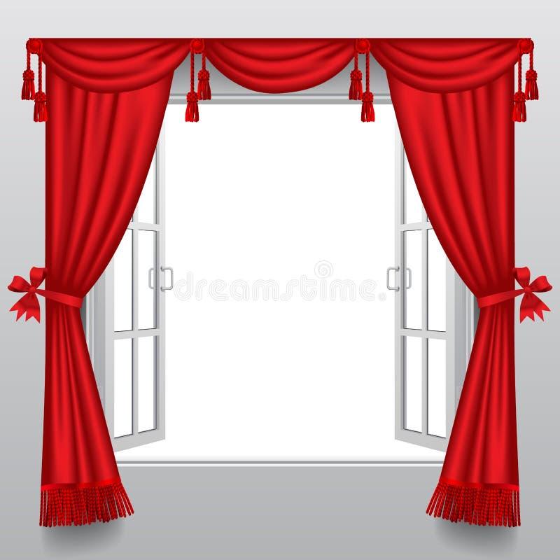 Apra la doppia finestra bianca con i ciechi rossi classici e trasparente illustrazione vettoriale