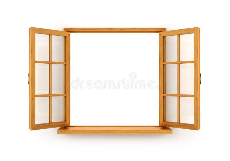 Apra la finestra di legno illustrazione di stock