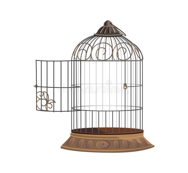 apra la gabbia per gli uccelli illustrazione di stock