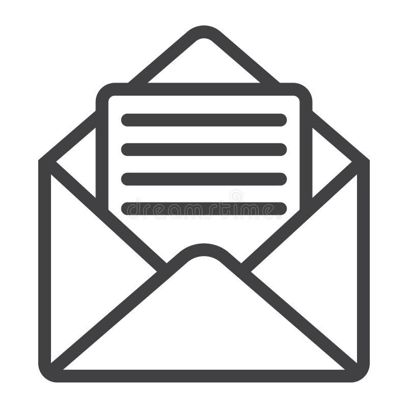 Apra la linea icona della posta, il web ed il cellulare, lettera aperta royalty illustrazione gratis