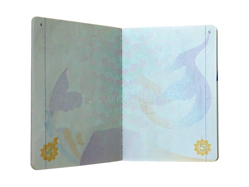 Apra la pagina del passaporto dello spazio in bianco della Tailandia su bianco fotografie stock