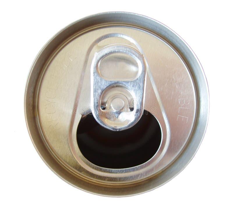 Apra la parte superiore della latta di soda fotografia stock libera da diritti