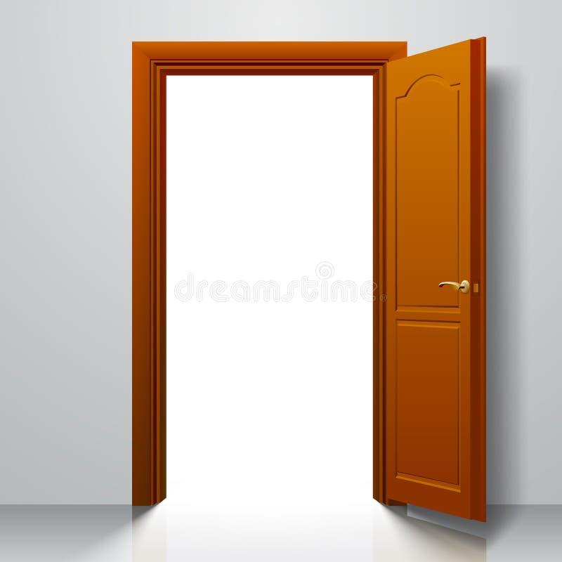 Apra la porta marrone chiaro illustrazione vettoriale