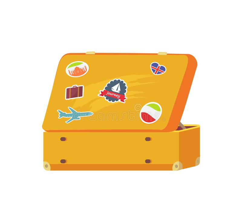 Apra la retro valigia con la barca a vela dell'autoadesivo di memoria royalty illustrazione gratis