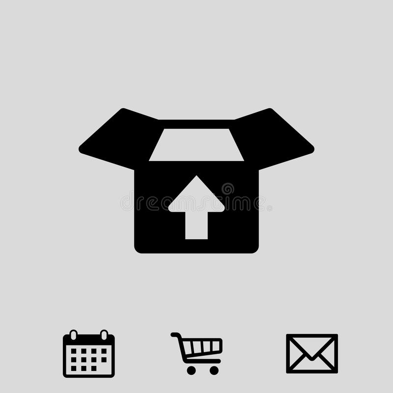 Apra la scatola con progettazione piana dell'illustrazione di vettore delle azione dell'icona della freccia illustrazione vettoriale