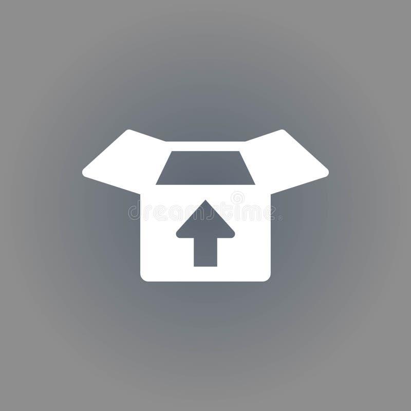 Apra la scatola con progettazione piana dell'illustrazione di vettore delle azione dell'icona della freccia illustrazione di stock