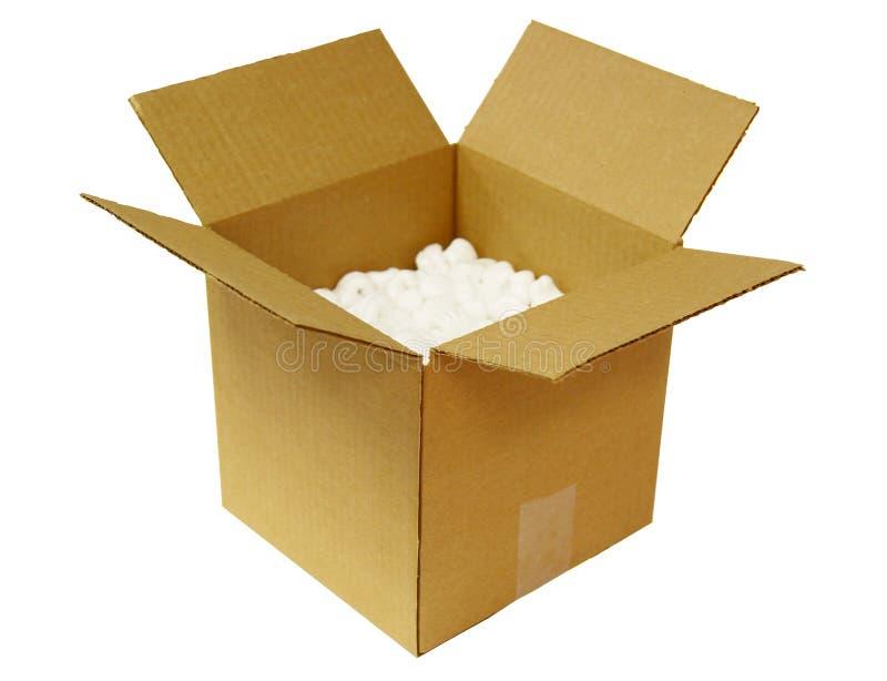 Apra la scatola di cartone fotografia stock