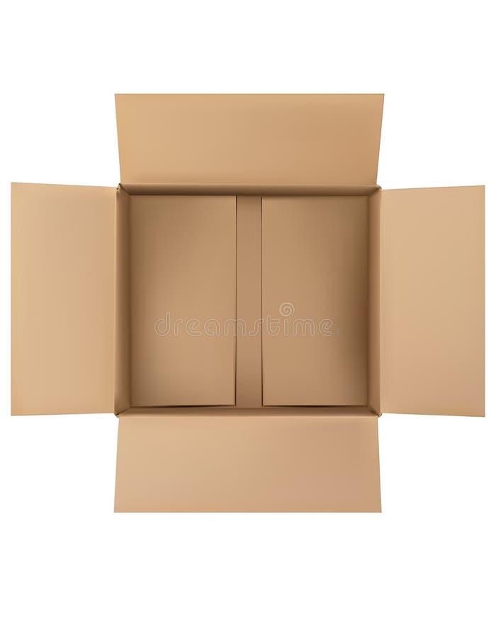 Apra la scatola di cartone in bianco marrone normale isolata Vista superiore illustrazione di stock