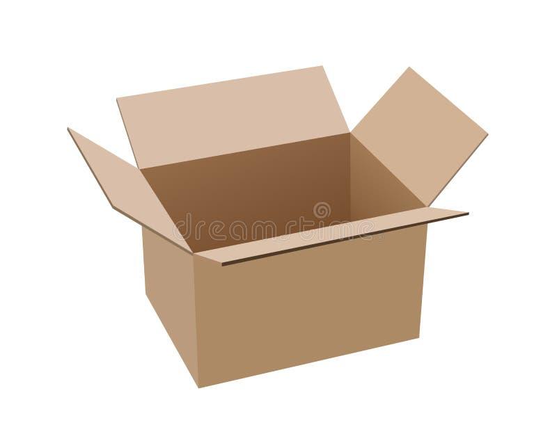 Apra la scatola di cartone marrone illustrazione di stock