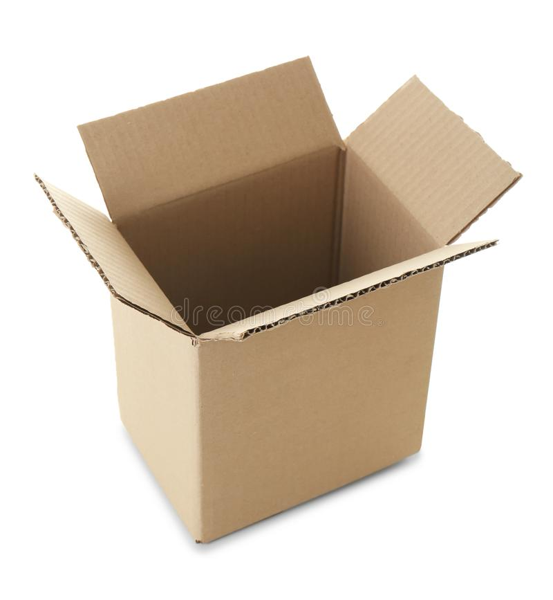 Apra la scatola di cartone vuota fotografia stock libera da diritti