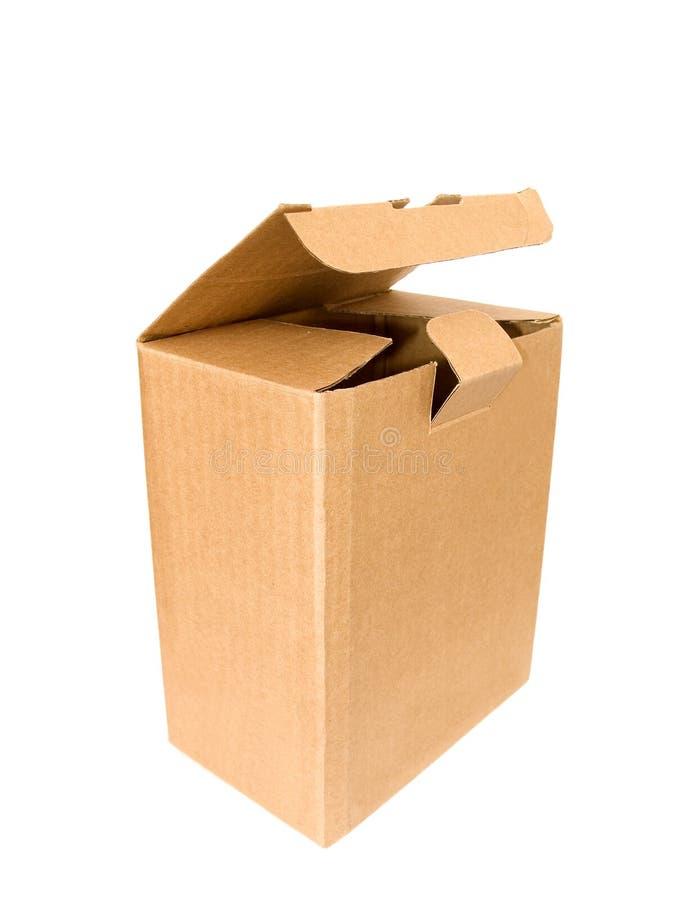 Apra la scatola di cartone vuota fotografie stock