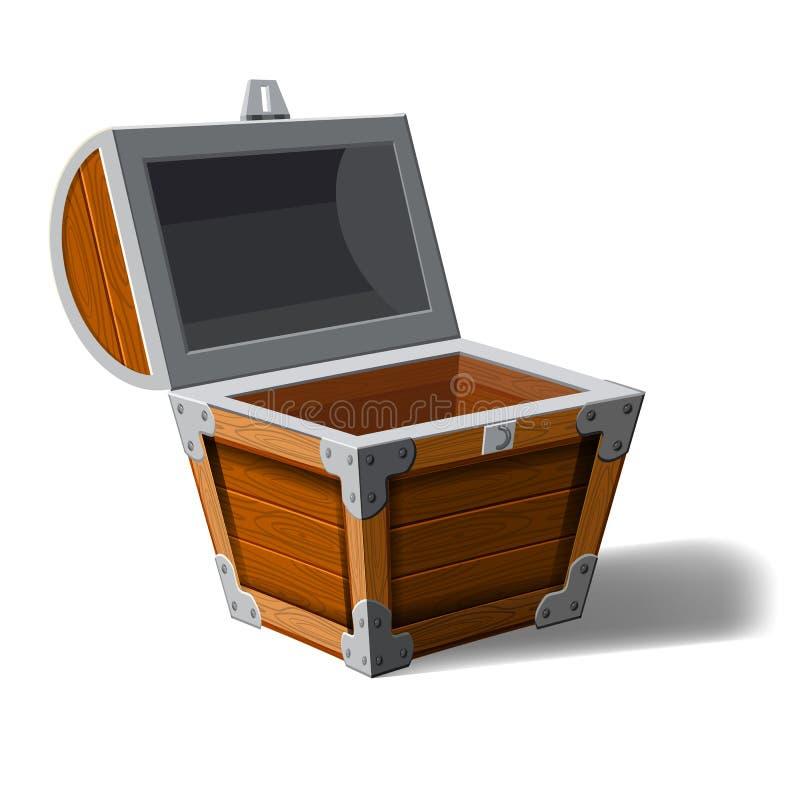 Apra la scatola di legno del petto del pirata Simbolo delle ricchezze di ricchezza Progettazione piana di vettore del fumetto per illustrazione di stock