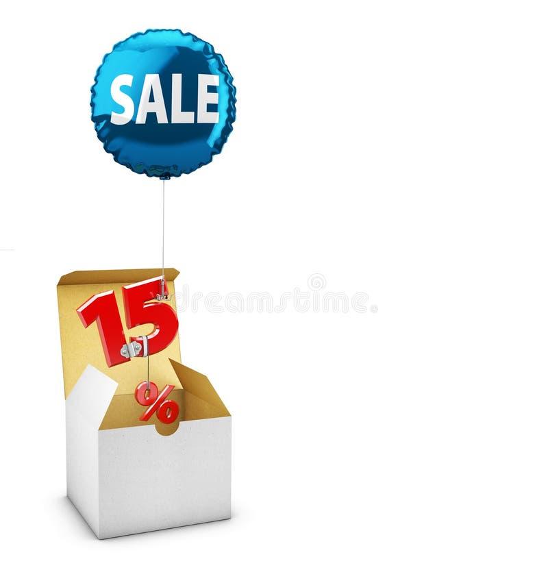 Apra la scatola ed il pallone di volo con un segno di quindici per cento, concetto della VENDITA per i negozi illustrazione 3D royalty illustrazione gratis
