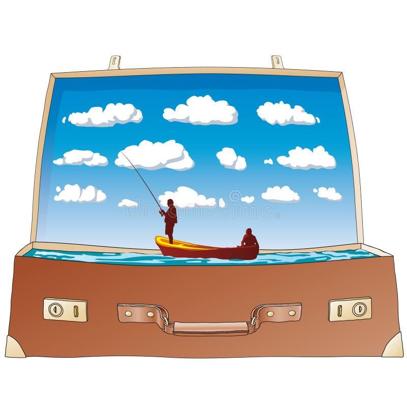 Apra la valigia (vettore) illustrazione di stock