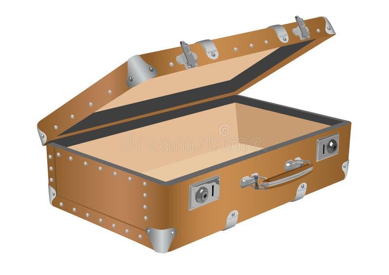Apra la vecchia valigia illustrazione di stock