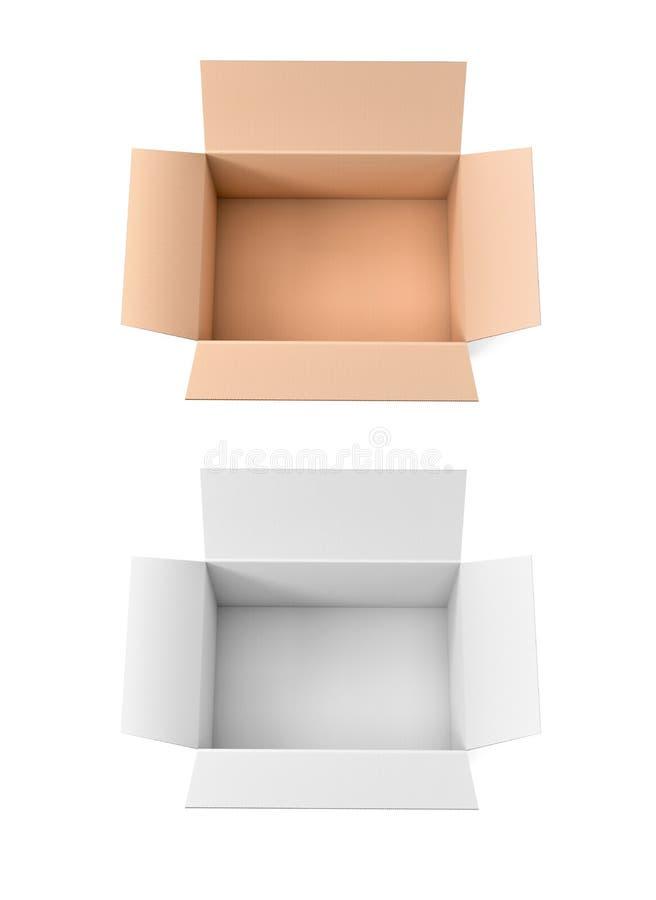 Apra le caselle Grande imballaggio di spedizione illustrazione della rappresentazione 3d isolata illustrazione di stock