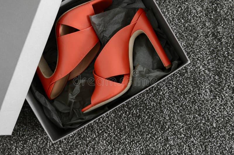 Apra le scarpe di cuoio trasversali del mulo dei criss del dito del piede Il modo tallona le scarpe dentro fotografia stock libera da diritti