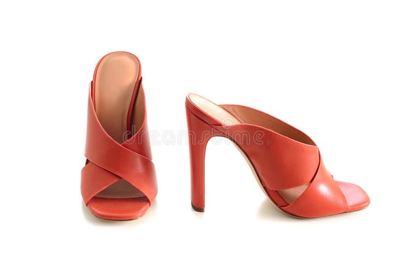 Apra le scarpe di cuoio trasversali del mulo dei criss del dito del piede isolate su backgr bianco fotografie stock libere da diritti