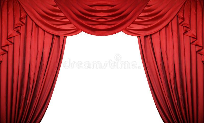 Apra le tende rosse su fondo bianco Presentazione di film o del teatro con spazio per testo fotografia stock