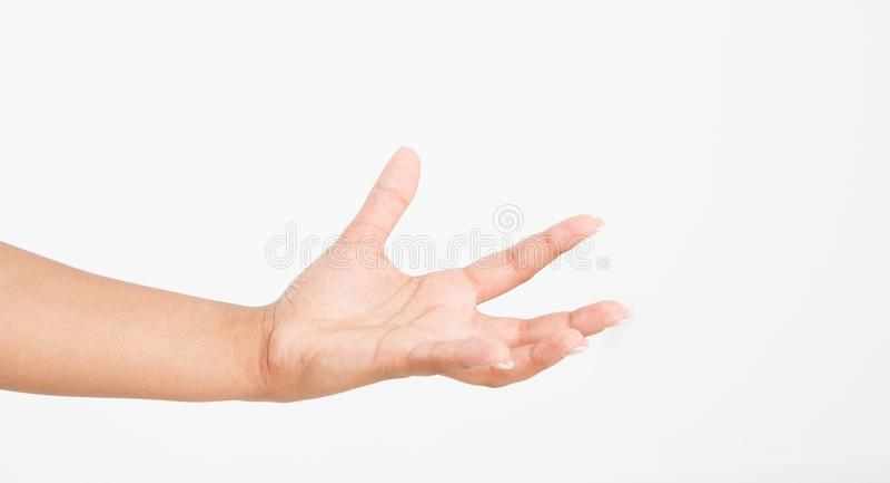 Apra una mano del ` s della donna di colore, palma su isolata su fondo bianco Front View Derisione su Copi lo spazio mascherina b fotografia stock