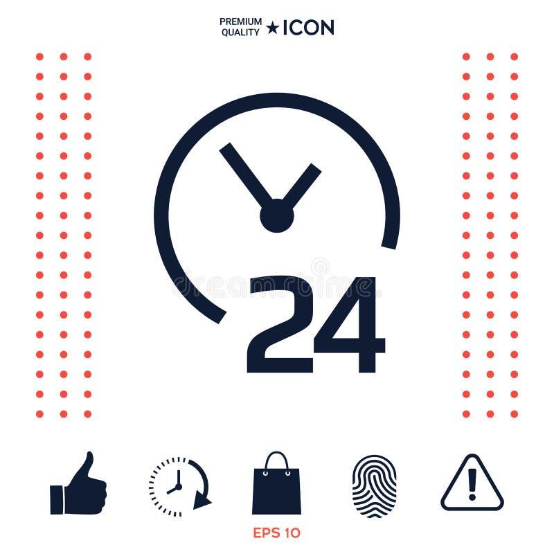 Download Apra Ventiquattr'ore Su Ventiquattro L'icona Icona Di Simbolo Di Ore Di Apertura Illustrazione Vettoriale - Illustrazione di misura, profilo: 117976119