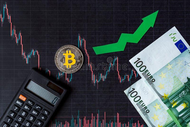 Apreciação do bitcoin virtual do dinheiro A seta verde e Bitcoin de prata na avaliação de papel do índice da carta dos estrangeir imagem de stock royalty free