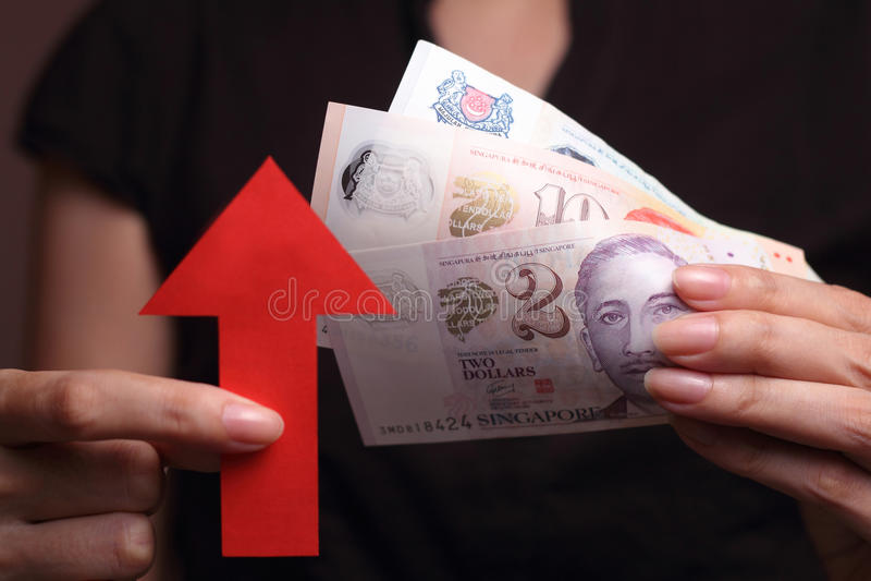 Apreciação do dólar de Cingapura imagens de stock