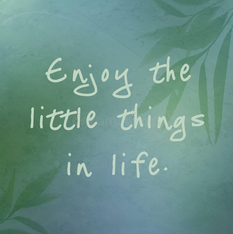 Aprecie as coisas pequenas na vida ilustração royalty free