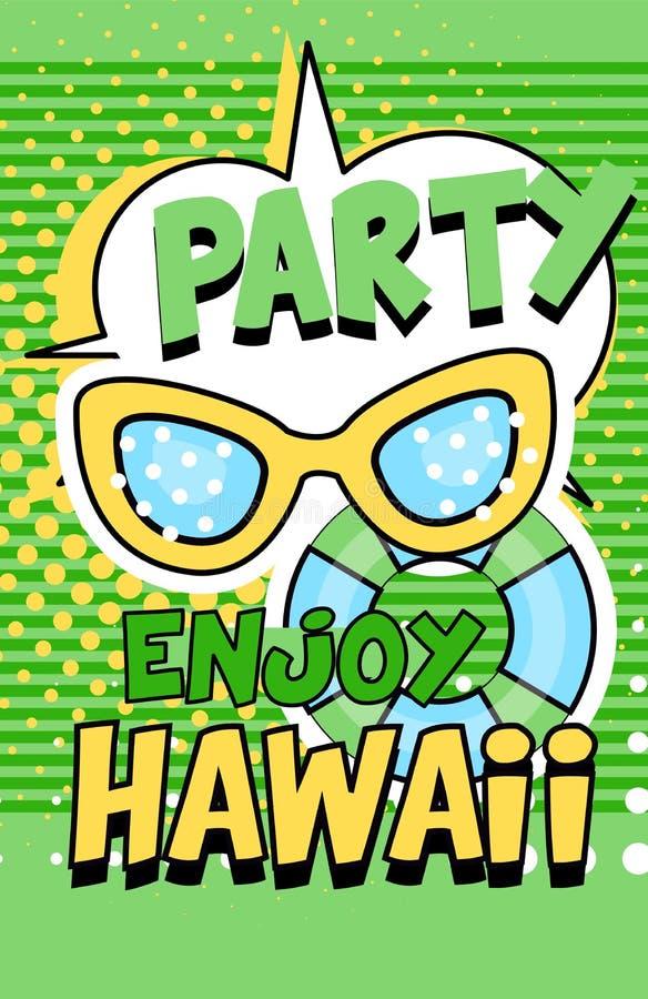 Aprecie a bandeira de Havaí do partido, ilustração retro brilhante verde do vetor do cartaz do estilo do pop art ilustração do vetor